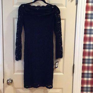 NWT black lined lace dress